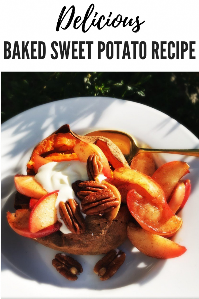 baked sweet potatoes with cinnamon spiced apples, sweet potato dessert recipes, easy family food from daisies and pie. text overlay reads 'delicious baked sweet potato recipe'