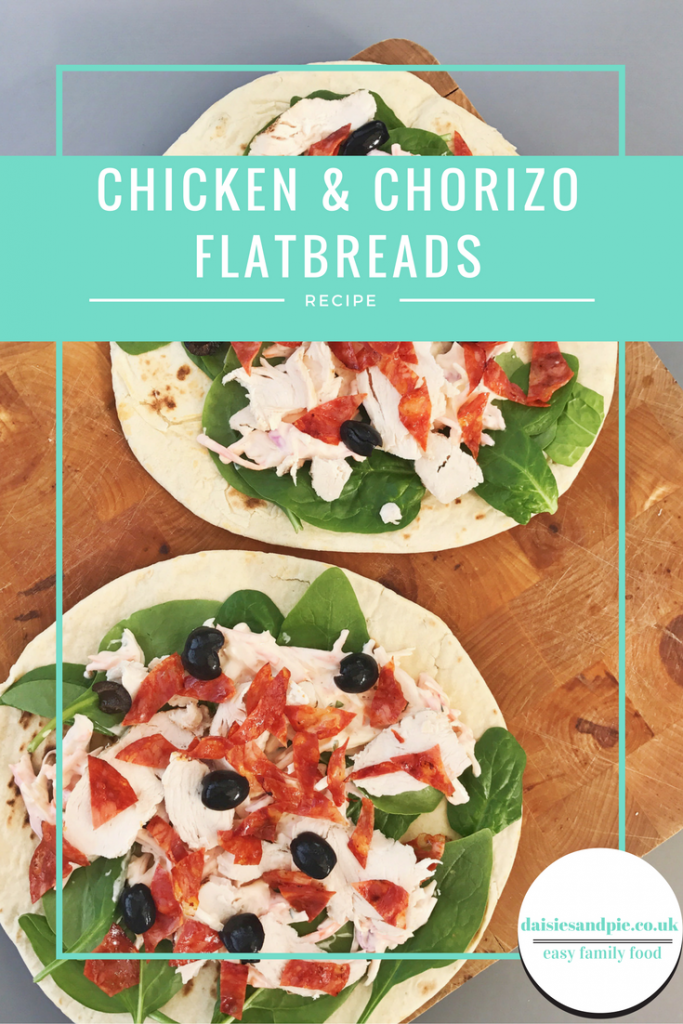 chicken and chorizo flatbread recipe, chicken and chorizo sandwich recipe, gourmet chicken sandwich recipe, greek style chicken flatbread recipe, easy midweek meal from daisies and pie