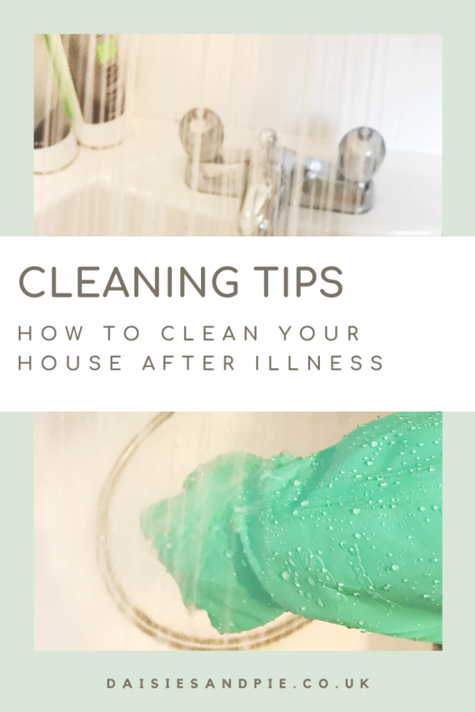 """shower spraying into a bath with person scrubbing whilst wearing green rubber gloves. Text """"cleaning tips - how to clean your house after illness"""""""