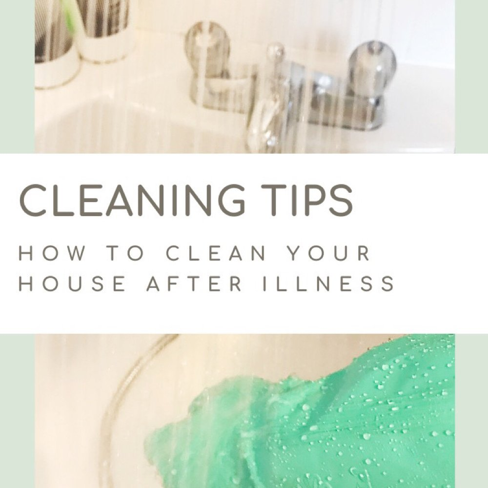 "shower spraying into a bath with person scrubbing whilst wearing green rubber gloves. Text ""cleaning tips - how to clean your house after illness"""