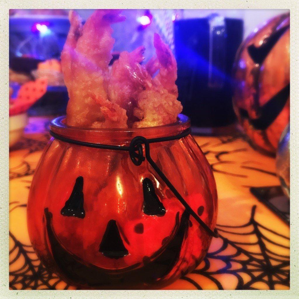 iceland tempura jumbo prawns, halloween party food ideas, easy halloween food