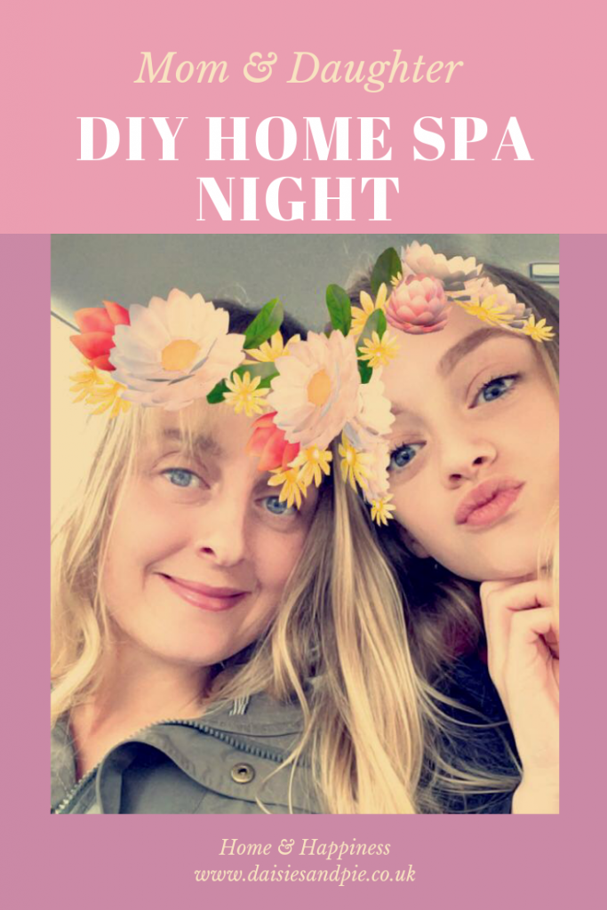"mom and daughter with flower crowns. Text overlay saying ""mom and daughter DIY home spa night"""