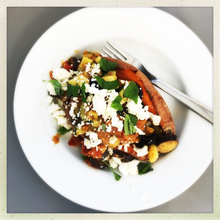 sweet potato topped with pesto veggies and feta cheese, healthy sweet potato recipes, healthy lunch ideas, easy family food from daisies and pie