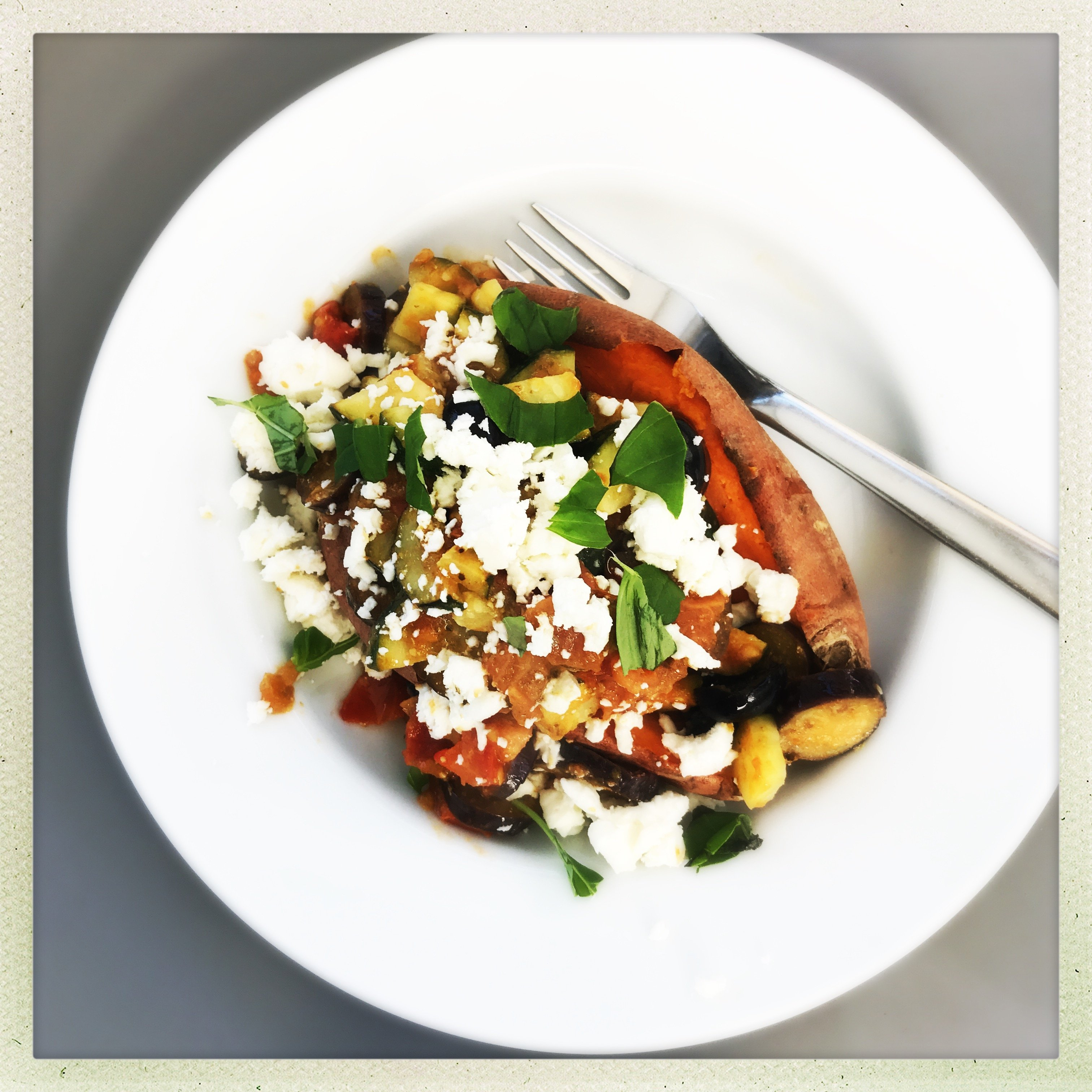 Baked Sweet Potatoes With Feta And Pesto Vegetables