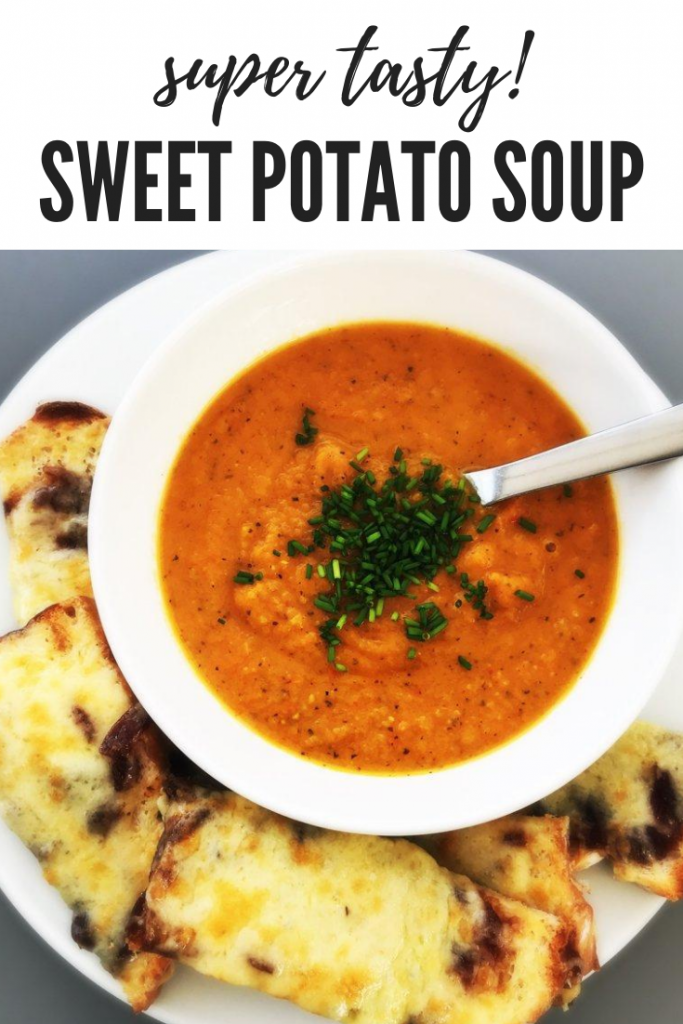 sweet potato soup served with grilled cheese dippers. text overlay reads 'super tasty! sweet potato soup'