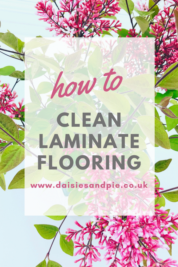 """vase of lilacs. Text overlay """"how to clean laminate flooring - www.daisiesandpie.co.uk"""""""