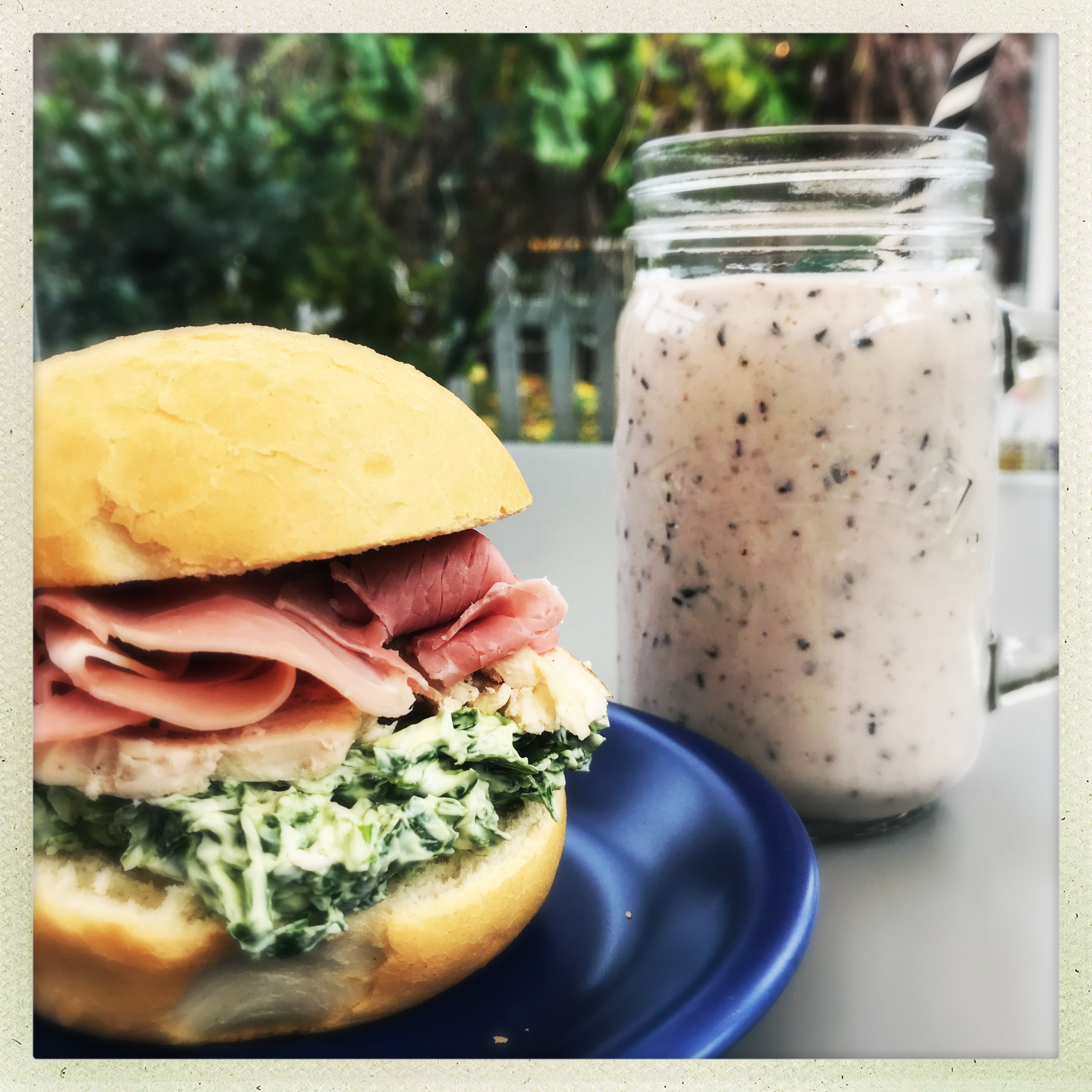 Ham, spinach and cream cheese sandwich