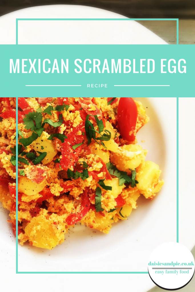 mexican scrambled eggs, mexican style breakfast, easy mexican breakfast recipe, brunch recipe with eggs, easy family food from daisies and pie