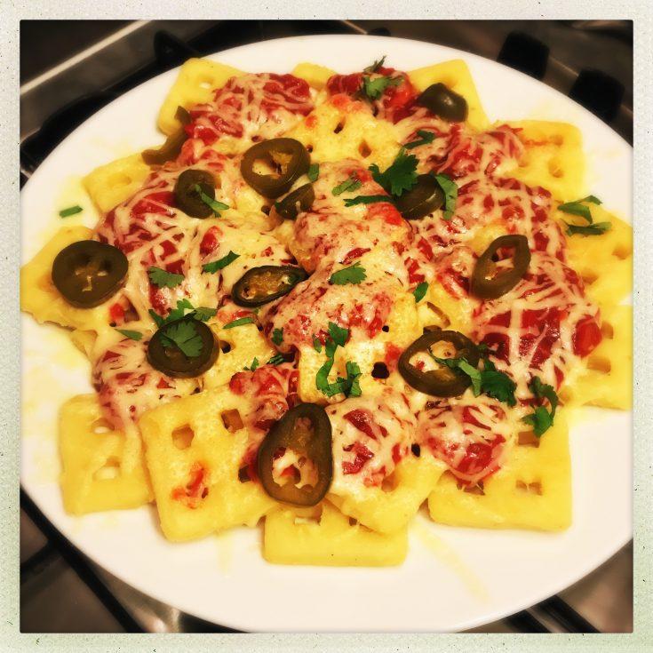 waffle nachos, mexican waffles, potato waffle recipe, pimped up waffles, nacho waffles