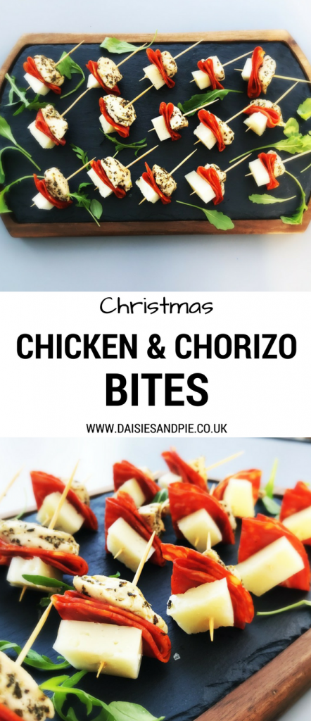 Delicious little chicken and chorizo bites perfect Christmas party food, homemade Christmas party food, festive nibbles