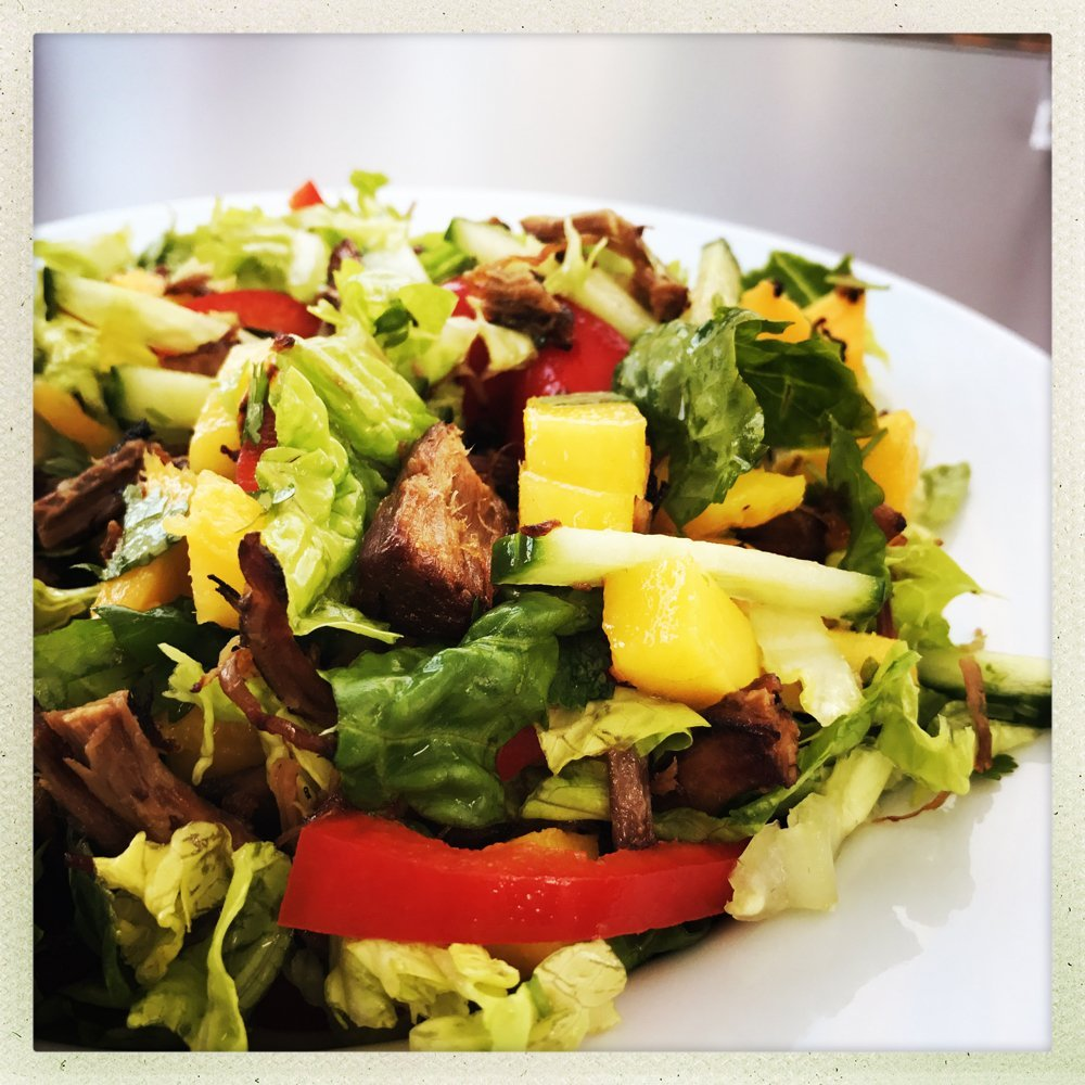 spicy beef salad recipe, roast beef and mango salad, recipes to use up roast beef, easy meal ideas