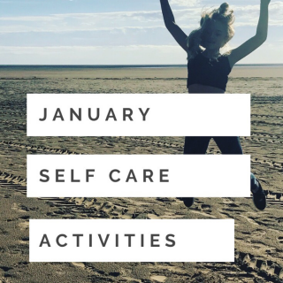 """an empty beach wit the sea far out on the horizon - girl jumping up high in the air doing the peace sign. Text overlay """"January self care activities"""""""