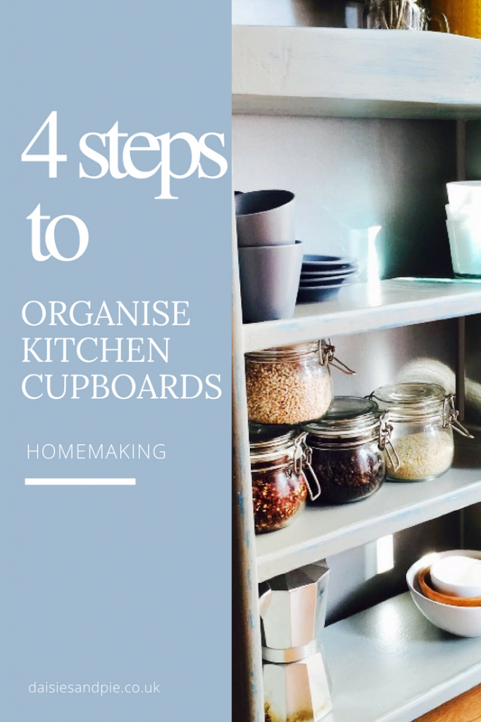 How to organise kitchen cupboards, kitchen organisation tips, homemaking tips