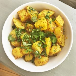 Indian spiced potato side dish, easy family food from daisies and pie