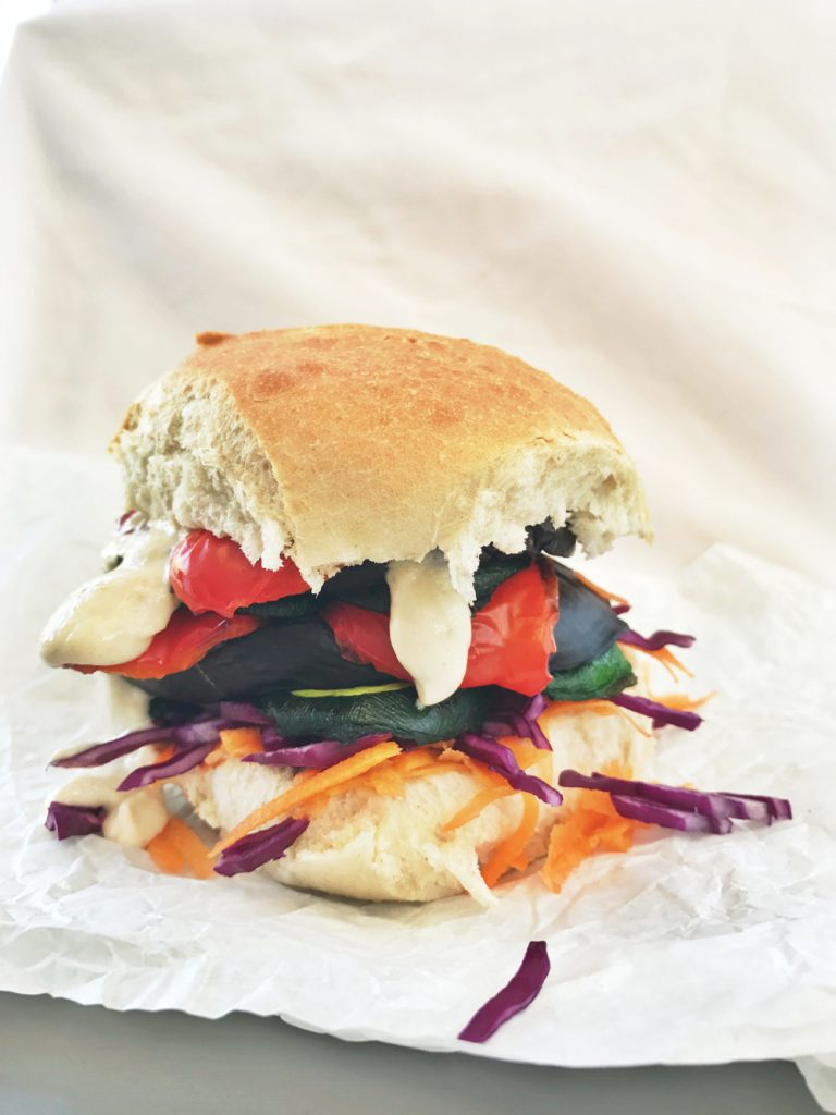 Grilled rainbow vegetable sandwich with creamy tahini sauce, vegetarian sandwich recipes, easy family food from daisies and pie
