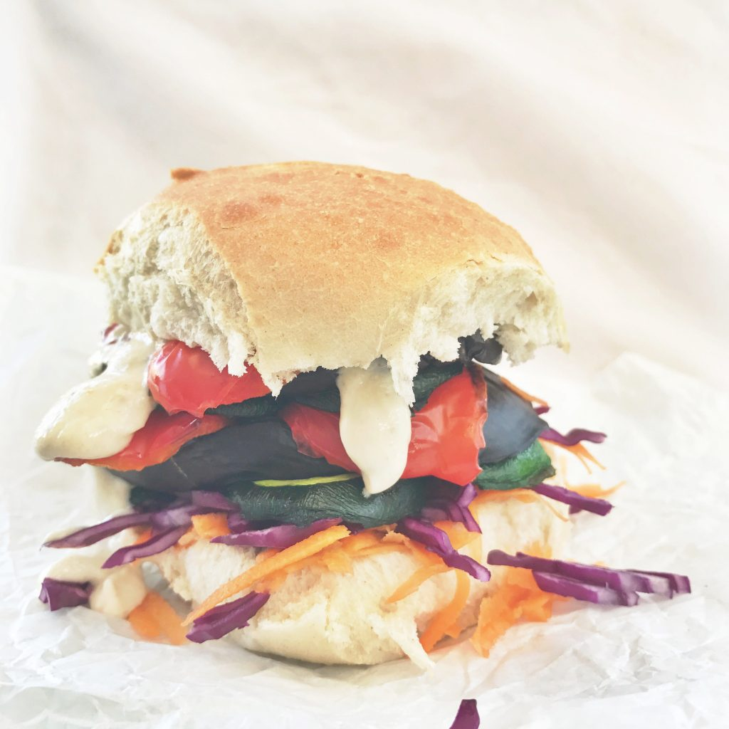 Grilled rainbow vegetable sandwich with zingy tahini dressing, vegetarian sandwich recipe, easy family food from daisies and pie