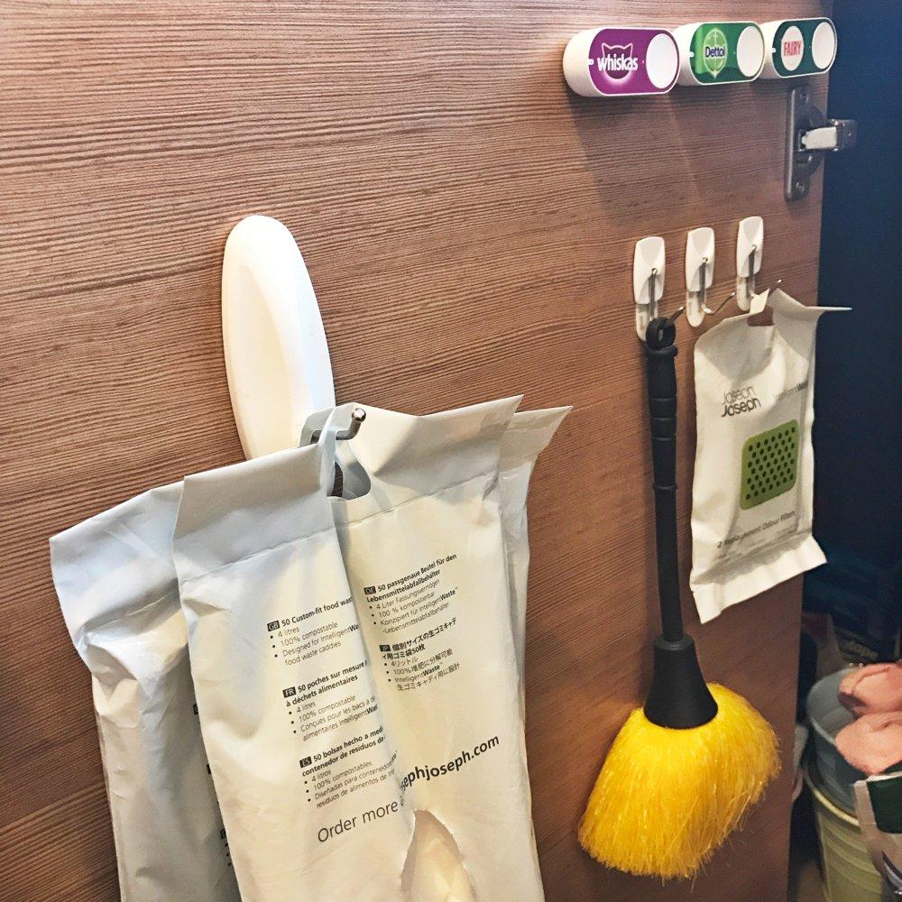 using command stick on hooks to organise kitchen