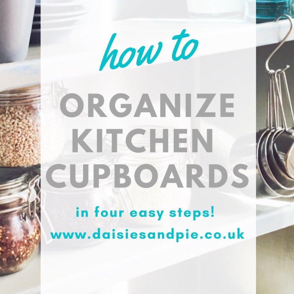"neatly organized kitchen cupboard. Text overlay ""how to organize kitchen cupboards in four easy steps"""