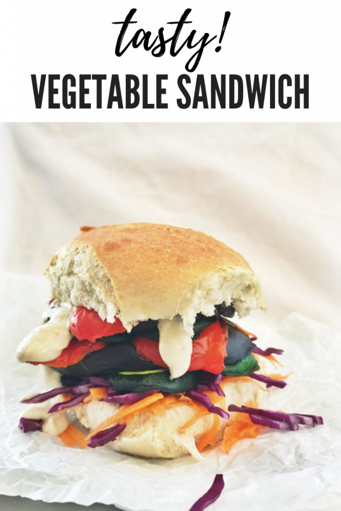 Grilled rainbow vegetable sandwich with creamy tahini sauce, vegetarian sandwich recipes, easy family food from daisies and pie. text overlay reads 'tasty! vegetable sandwich'
