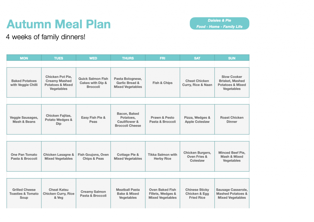 autumn meal plan - 4 weeks of family dinners