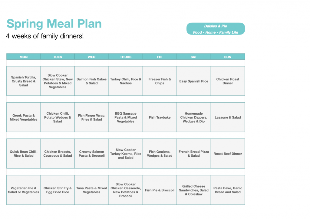 spring meal plan - 4 weeks of family dinners