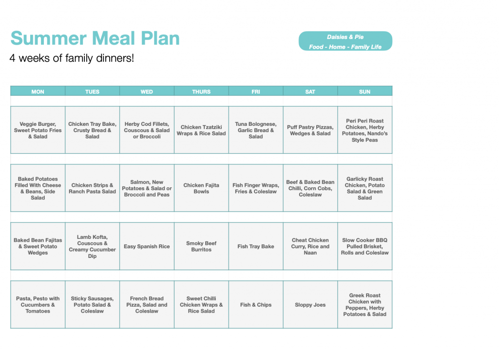 summer meal plan - 4 weeks of family dinners