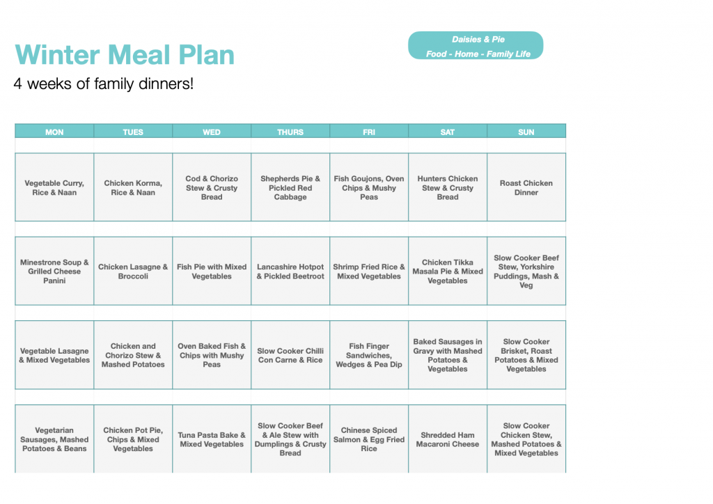 winter meal plan - 4 weeks of family dinners