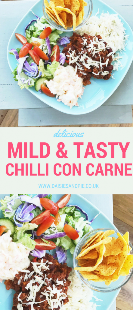 Mild and tasty chilli con carne that's perfect for family dinner, pile on the fresh salad for an easy summer dinner