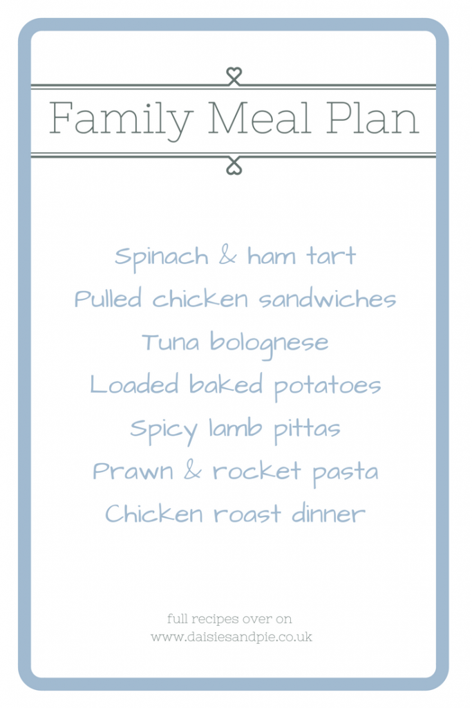 Weekly family meal plan filled with easy family recipes that are kid friendly, time friendly and budget friendly, homemaking from daisies and pie