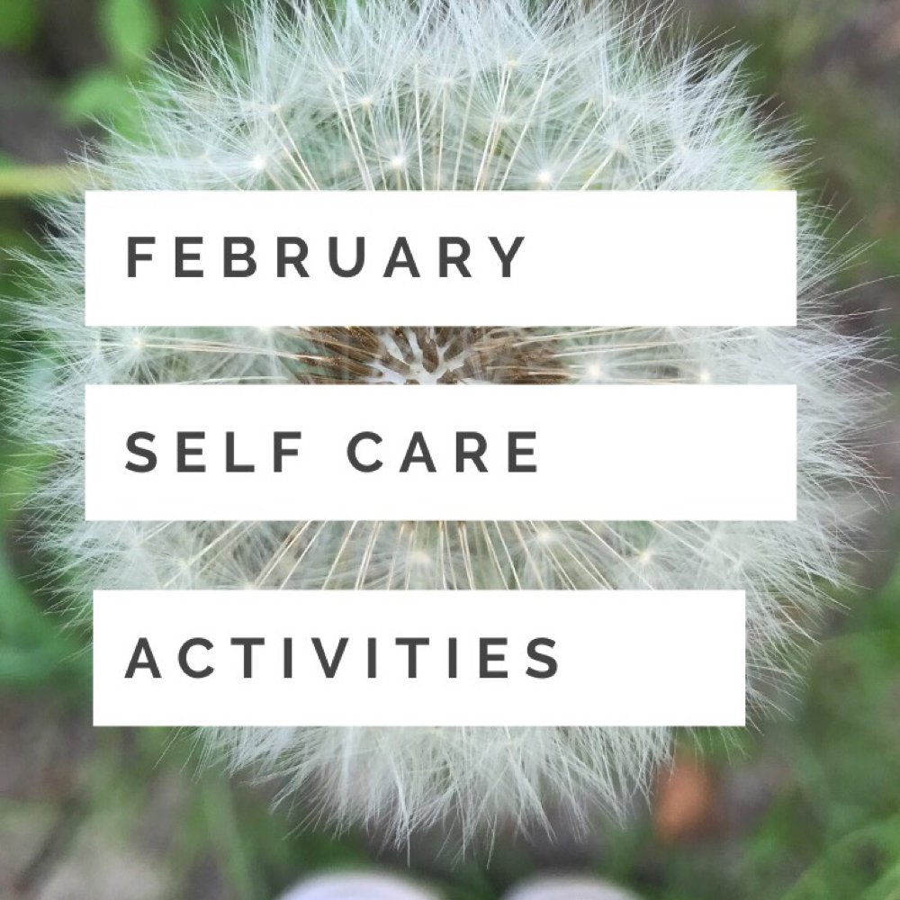 "close up image of a dandelion clock - Text overlay ""february self care activities"""