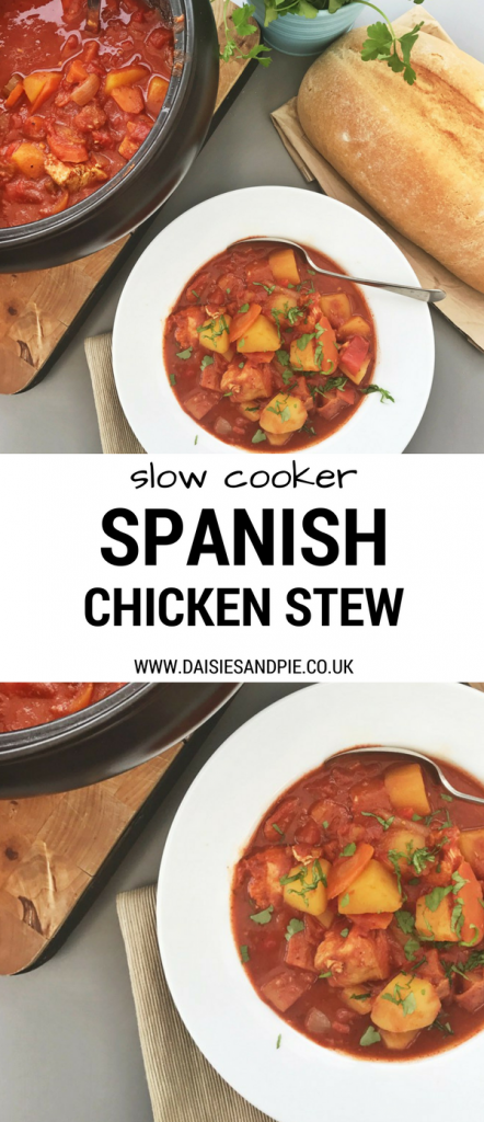 Slow cooker Spanish chicken stew, easy family dinner recipe