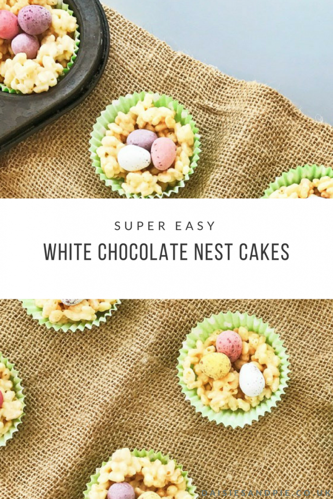 "hessian tablecloth with white chocolate nest cakes filled with cadbury mini eggs. Text overlay saying ""super easy white chocolate nest cakes"""