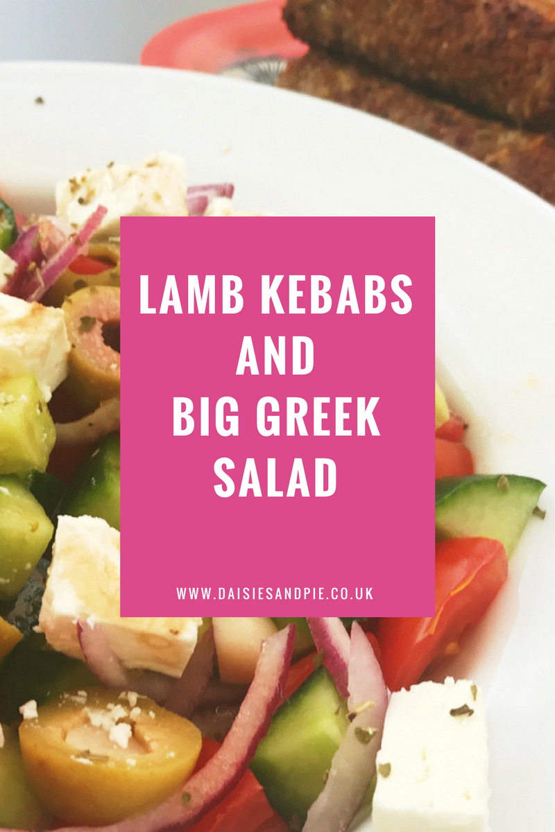 Quick lamb kebabs with big greek salad, easy meal ideas with lamb, quick midweek dinner ideas