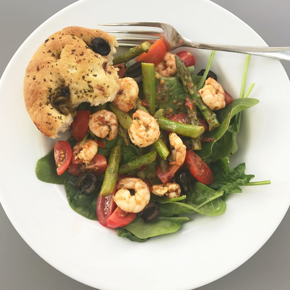 Italian prawn and asparagus salad, quick dinner recipes for two, prawn salad recipe, asparagus recipes, easy midweek meal
