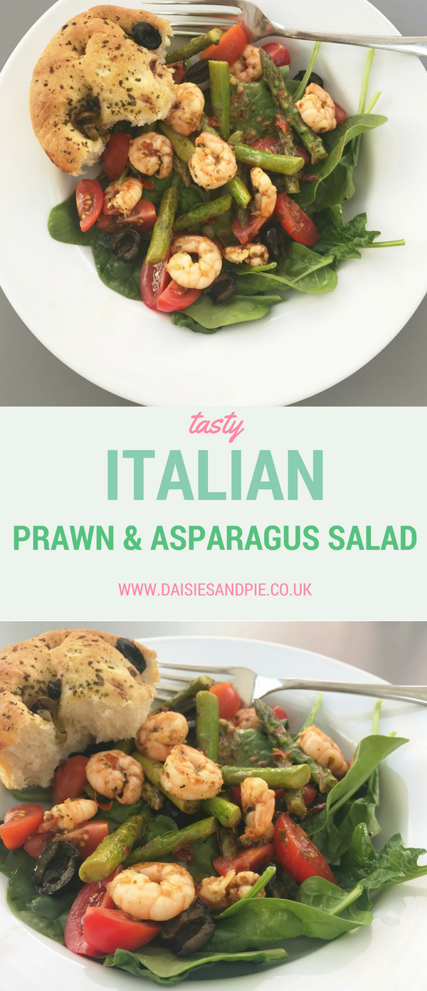Italian prawn and asparagus salad, quick summer dinner recipe, 20 minute meal