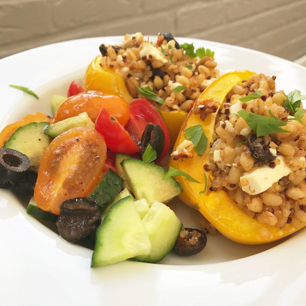 Quinoa and feta stuffed peppers, quick meal ideas, quick vegetarian dinner recipes