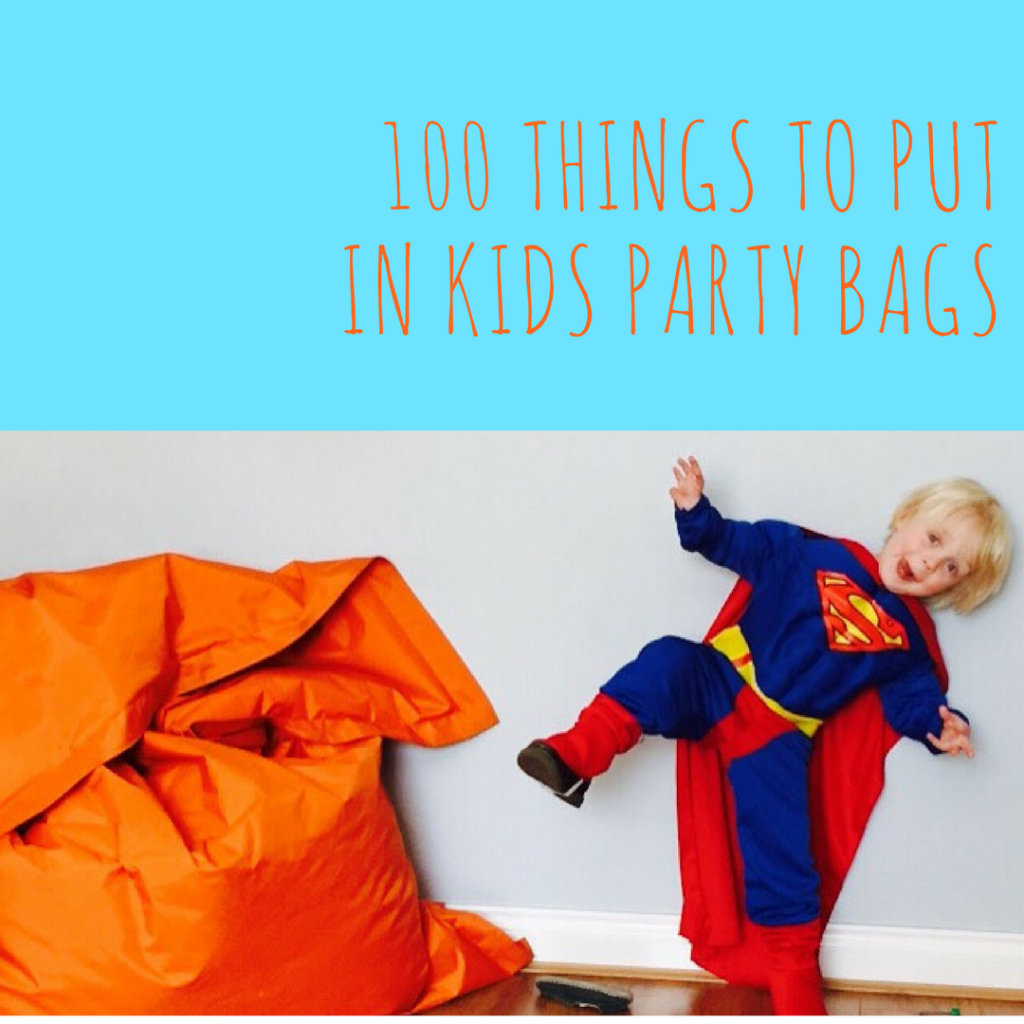 100 things to put in kids party bags, swag bag ideas, kids party ideas
