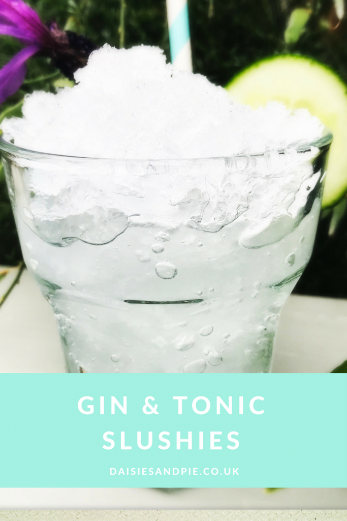 """gin and tonic slushies served with cucumber and lavender garnish. Text overlay """"gin and tonic slushies"""""""