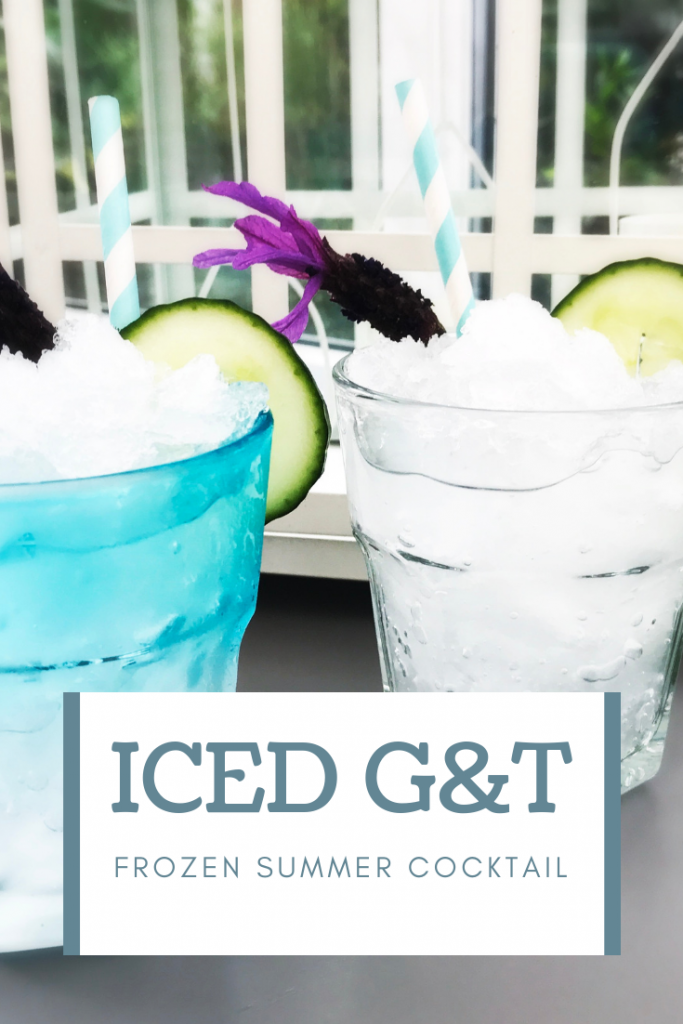 """gin and tonic slushies served with cucumber and lavender. Text overlay """"Iced G&T frozen summer cocktail"""""""