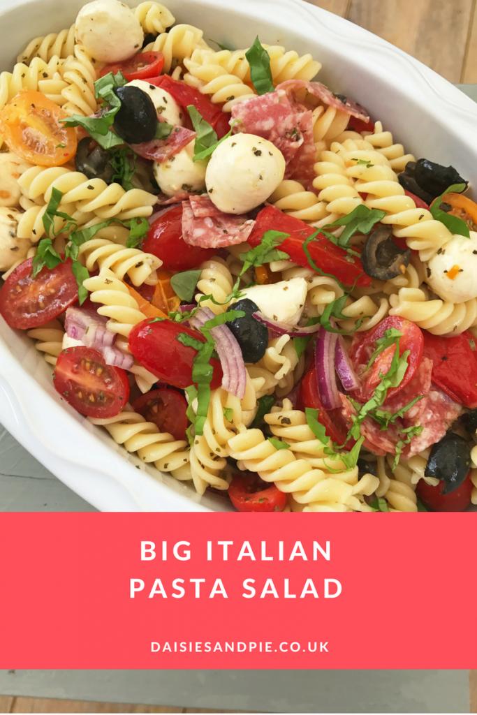 Big Italian pasta salad recipe, easy pasta recipe, quick family dinner