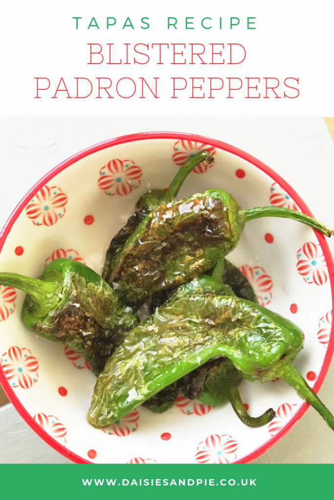 "blistered padron peppers tapas. Text ""tapas recipe - blistered padron pepeprs"""
