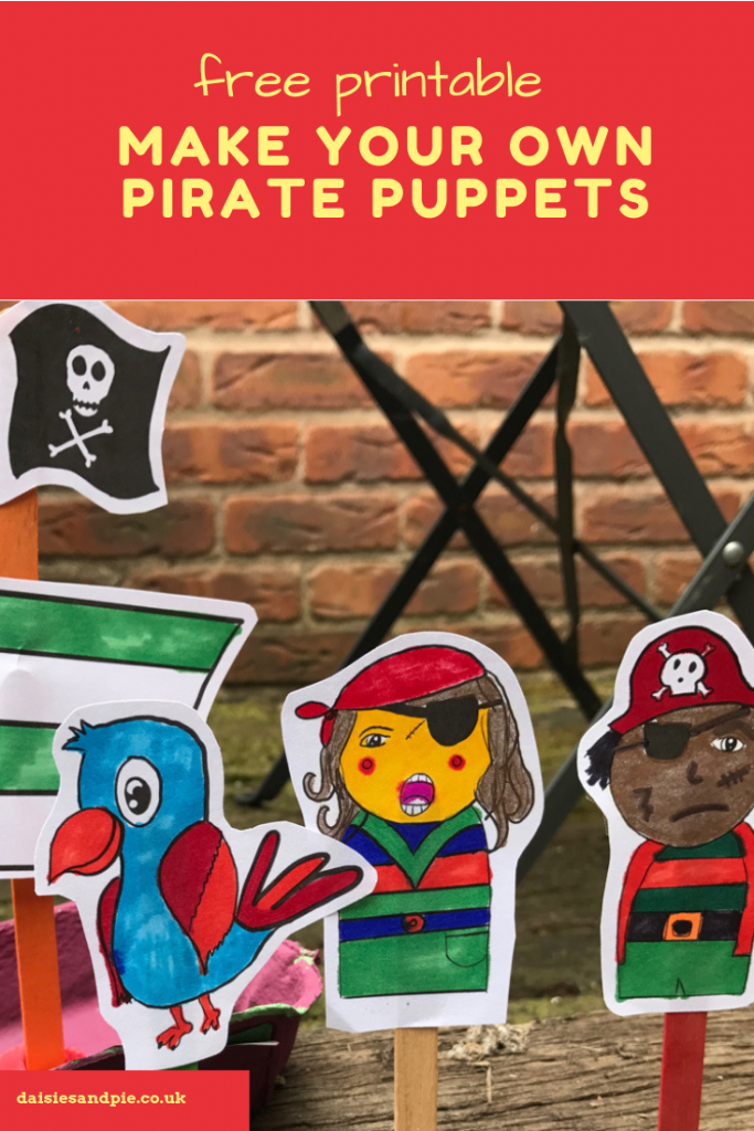 """free pirate puppet printable - pirate man, pirate girl, pirate parrot and pirate ship - ready to print and colour. Text saying """"free printable make your own pirate puppets"""""""