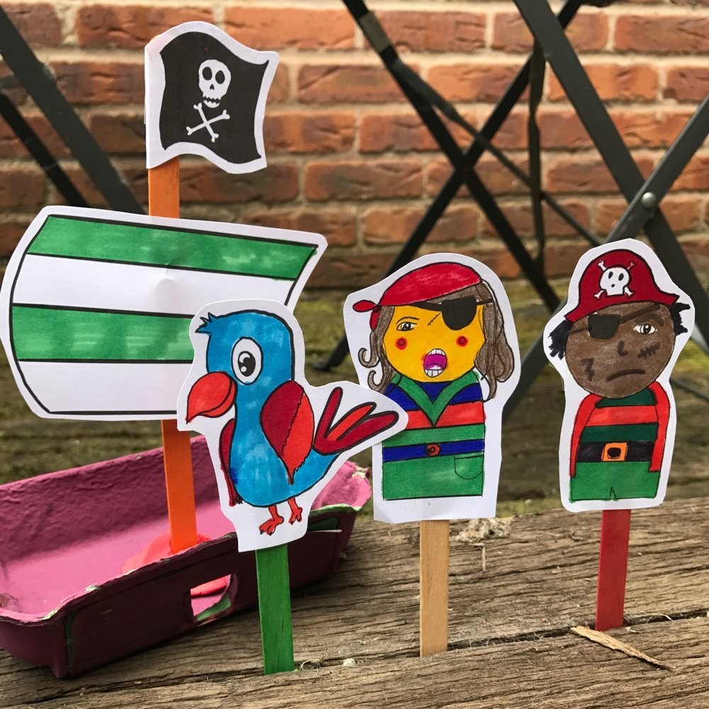 free pirate puppet printable - pirate man, pirate girl, pirate parrot and pirate ship - ready to print and colour