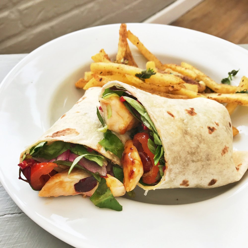 sweet chilli chicken and salad wrap with salt and pepper chips