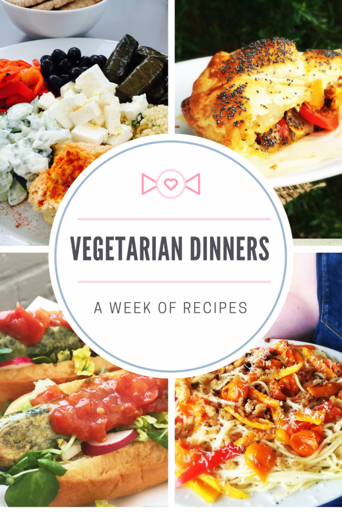 """4 images - one of vegetarian mezze spread, one of a slice of roast butternut squash and pepper pie, one of vegetarian hotdogs an one of roast tomato and pepper spaghetti. Text overlay saying """"vegetarian dinners and week of recipes"""""""
