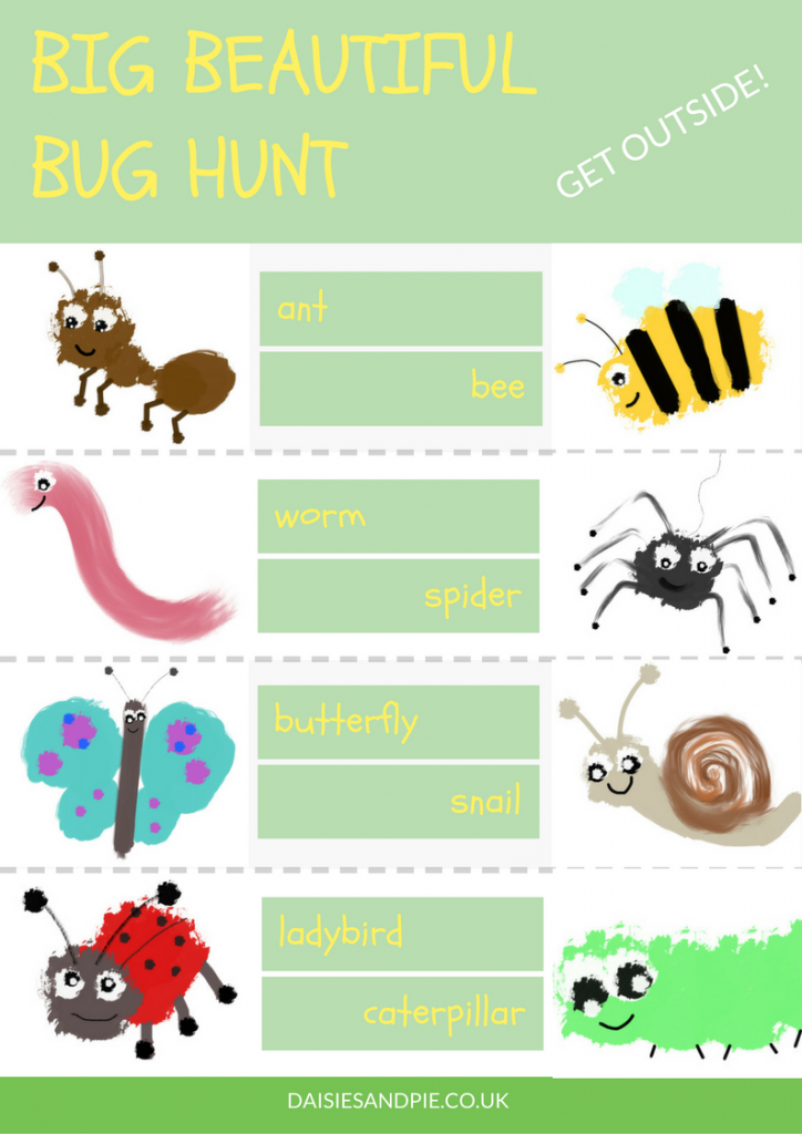 Garden bug hunt printable, preschool bug hunt printable checklist, bug hunt sheet, outdoor activities for kids, summer fun for kids
