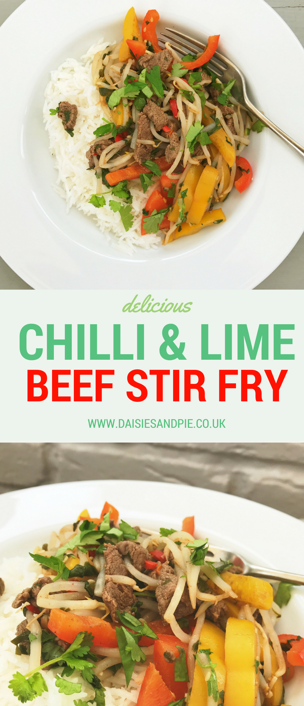 Chilli and lime beef stir fry, quick chinese beef recipe, easy midweek meals