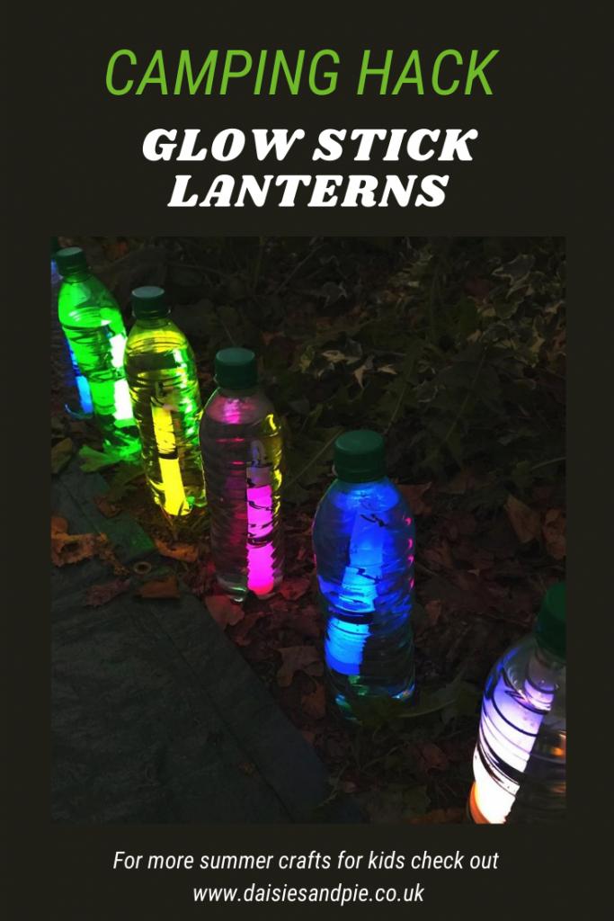 DIY glow stick lanterns made from empty bottles and glow sticks