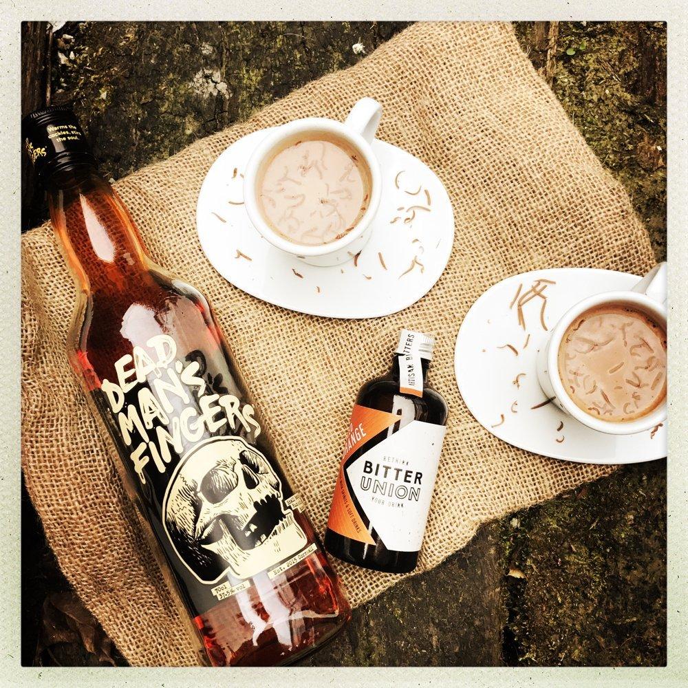 Hot chocolate shots with rum and orange