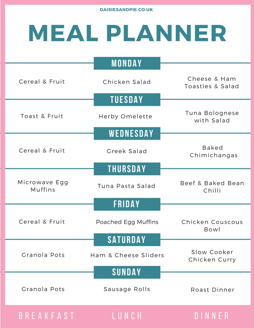 family meal plan 26th june 2017 daisies pie